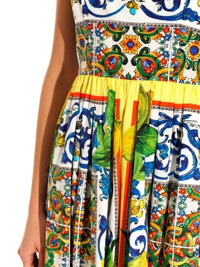 Dolce & Gabbana Sicilian Lemon-print full-skirt dress