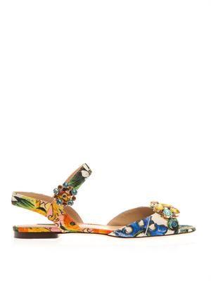 Bianca floral-brocade sandals