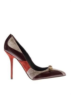 Bellucci leather and snakeskin pumps