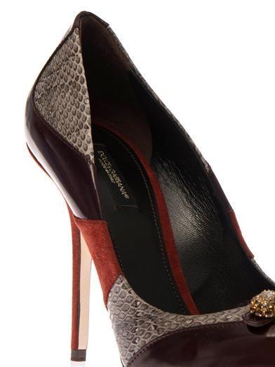 Dolce & Gabbana Bellucci leather and snakeskin pumps