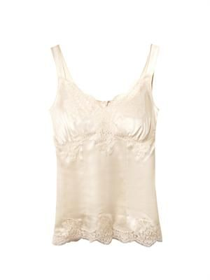 Satin lace-trimmed camisole