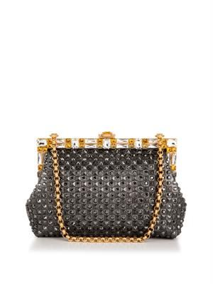 Vanda crystal-embellished leather clutch
