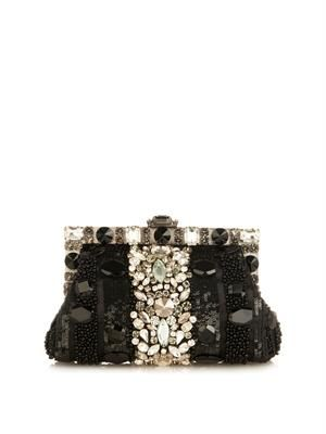 Vanda crystal-embellished clutch