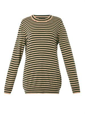 Striped cashmere-knit sweater