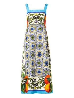 Sicilian orange-print jacquard dress