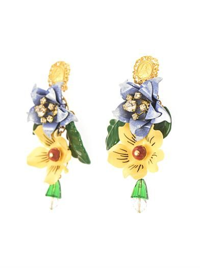 Dolce & Gabbana Hand-painted enamel and crystal earrings