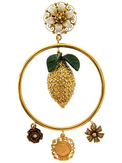 Dolce & Gabbana Lemon crystal-embellished hoop earrings