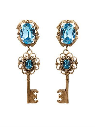 Dolce & Gabbana Crystal-embellished key earrings