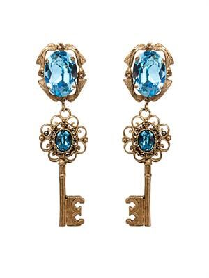 Crystal-embellished key earrings