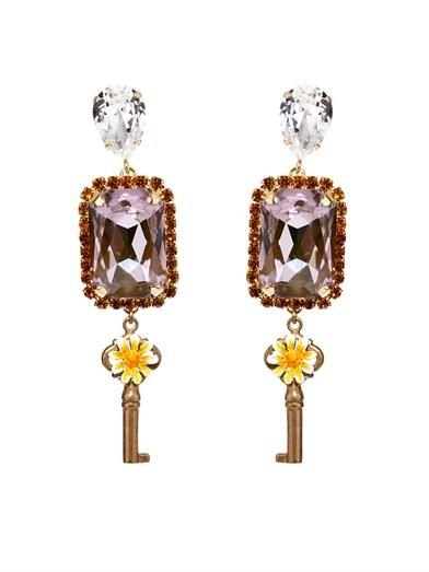 Dolce & Gabbana Key and flower drop earrings