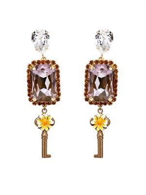 Key and flower drop earrings