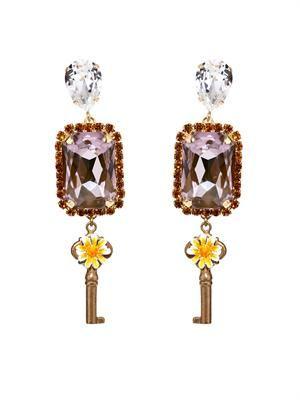 Key and flower drop earrings