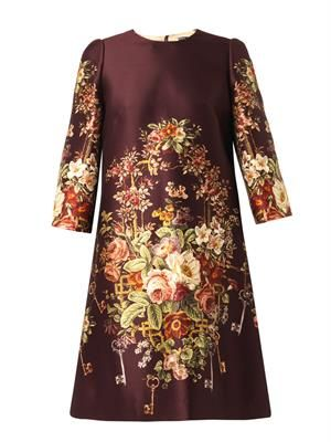 Floral and key-print duchess-satin dress