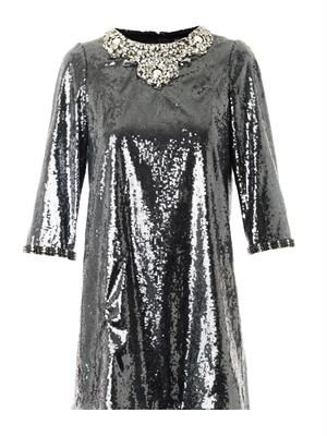 Crystal and sequin-embellished dress