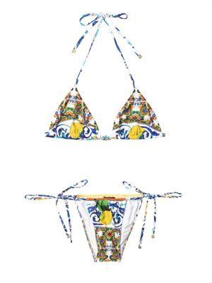 Maiolica-print bikini