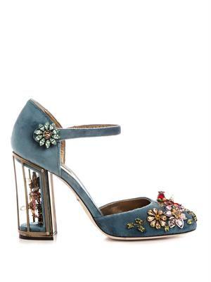 Embellished velvet cage-heel pumps