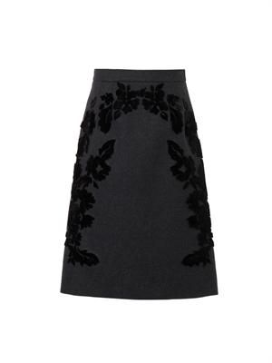 Flocked wool-blend A-line skirt