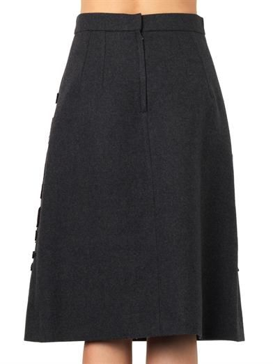 Dolce & Gabbana Flocked wool-blend A-line skirt
