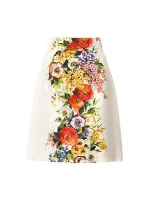 Floral-print jacquard skirt
