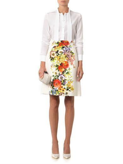 Dolce & Gabbana Floral-print jacquard skirt