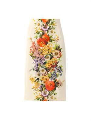 Bouquet-print pencil skirt