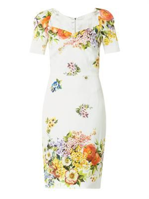 Floral-print silk charmeuse dress