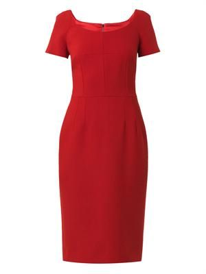 Scoop-neck wool-crepe dresss