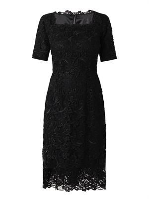 Square-neck macramé lace dress