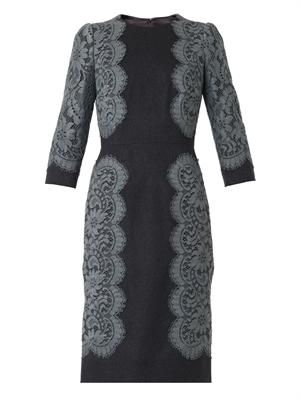 Lace-trim flannel dress