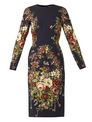Floral-print cady dress