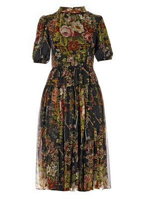 Floral and key-print silk-chiffon dress