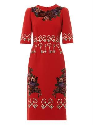 Flocked and embroidered crepe dress