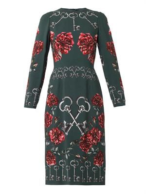 Key and floral-print crepe dress