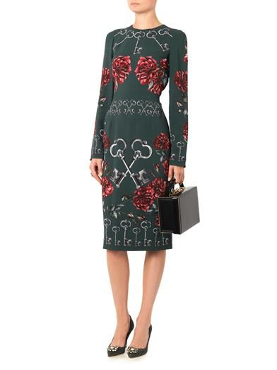 Dolce & Gabbana Key and floral-print crepe dress