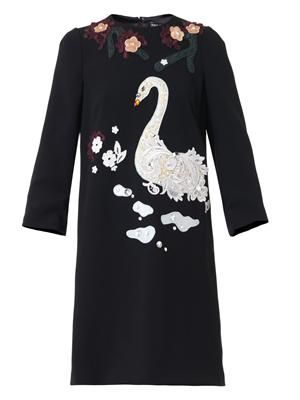 Swan-appliqué cady dress