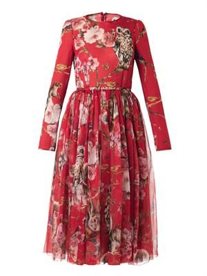 Floral and animal-print silk dress