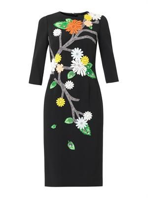 Floral appliqué cady dress