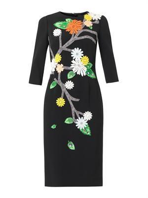 Floral appliqué cady dress