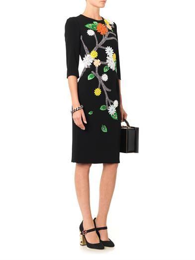 Dolce & Gabbana Floral appliqué cady dress