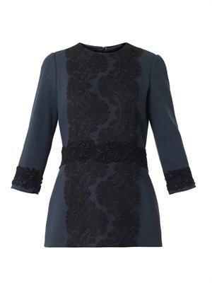 Lace-detail crepe blouse