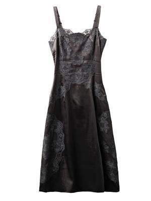 Lace and satin slip dress