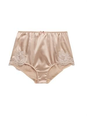 Satin and lace high-waisted briefs