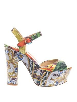 Majolica-print leather platform sandals