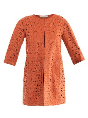 Paisley laser-cut leather coat