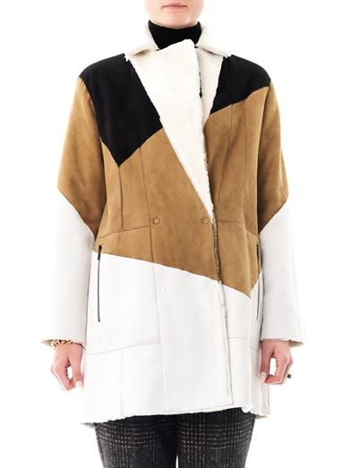 Drome Reversible tri-colour shearling coat