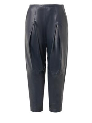Pleated-front leather trousers