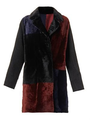 Reversible patchwork shearling coat