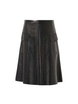 Leather A-line pocket skirt