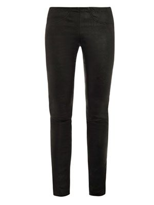 Back pocket stretch leather leggings