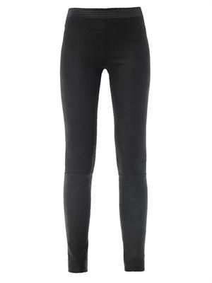 Waxed suede leggings
